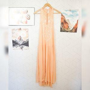 Free People High Neck Keyhole Blush Maxi Dress